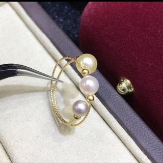 【高級】天然あこや真珠 リング4-5.5mm k18(リング(指輪))