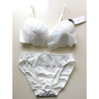 新品♥ホワイト フリルレース  C75 ブラ&ショーツセット 盛り 白(ブラ&ショーツセット)
