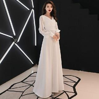白 二次会 花嫁  ロングスカート パーティードレス ウェディングドレス