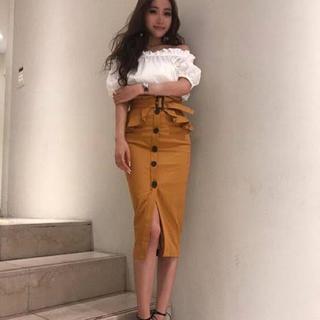 eimy istoire - エイミーeimy♡フロントボタンペプラムベルト付スカート イエロー M