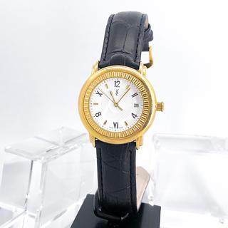 Saint Laurent - 【保証書付】サンローラン ラウンド ゴールド デイト ボーイズ 腕時計