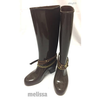 メリッサ(melissa)の【美品】melissa レインブーツ 23.5cm ブラウン(レインブーツ/長靴)