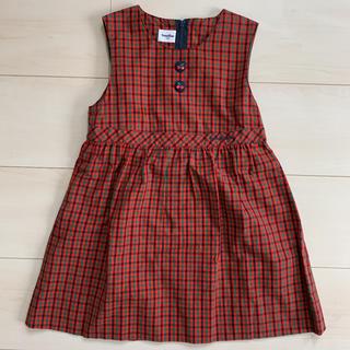 familiar - ファミリア  ワンピ ジャンパースカート 赤チェック さくらんぼ