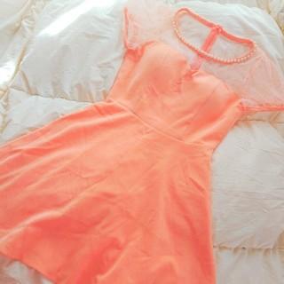 ジュエルズ(JEWELS)のjewels 春カラーミニドレス オレンジシャーベットカラー デコルテシースルー(ミニドレス)