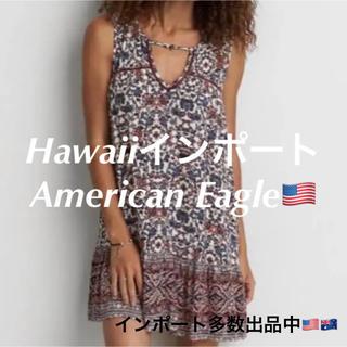 アメリカンイーグル(American Eagle)の新作【即納】日本未入荷 ハワイ インポート ワンピース 黒 ブラック ボヘミアン(ひざ丈ワンピース)