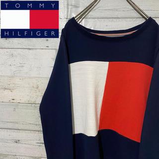 トミーヒルフィガー(TOMMY HILFIGER)の【レア】トミーヒルフィガー☆超ビッグフラッグロゴ 刺繍ロゴ スウェット(トレーナー/スウェット)