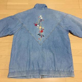 デニム×花刺繍 flower embroidery denim jacket(Gジャン/デニムジャケット)