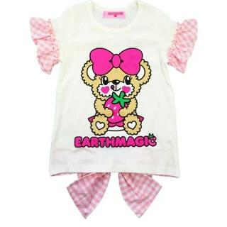 EARTHMAGIC - ギンガムチェック バックリボンTシャツ 100サイズ