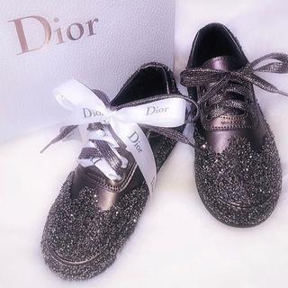 Diorリメイク♡キラキラビジューラメスニーカー リボンアレンジブラウンゴールド(スニーカー)