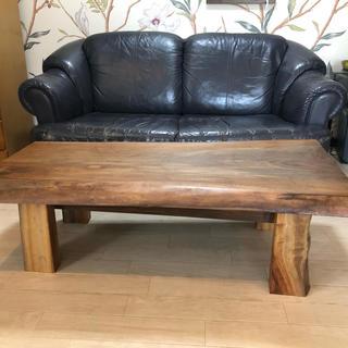 ウオールナットの裏表両面つかえる一枚板無垢のローテーブル(ローテーブル)