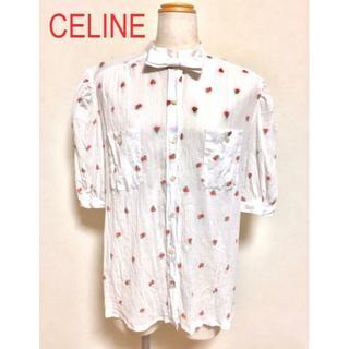 セリーヌ(celine)のキンちゃん様専用CELINE フラワー刺繍 リボンシャツ(シャツ/ブラウス(半袖/袖なし))