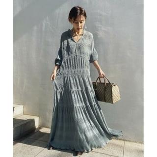 Ameri VINTAGE - 新品タグ付 SHIRRING PLEATS DRESS ミント M アメリ