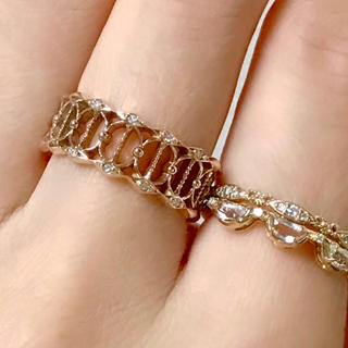 アガット(agete)のアガット agete ダイヤモンド 透かし 広幅 リング   K10  #9(リング(指輪))