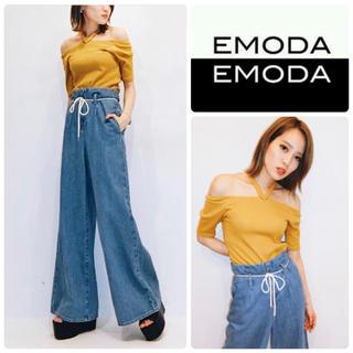 エモダ(EMODA)の新品 EMODA ハイウエスト ワイドデニム ジーンズ(デニム/ジーンズ)