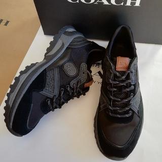 コーチ(COACH)の正規品 コーチ スエードレザー スニーカー 限定品 黒 新品、箱付き(スニーカー)