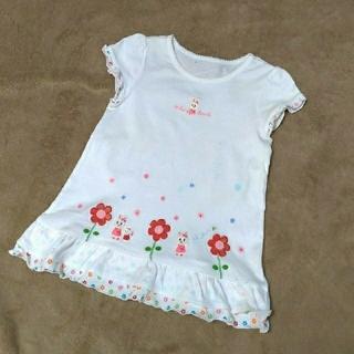 mikihouse - キッズTシャツ ミキハウス 白 花&ウサギ刺繍