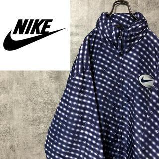 NIKE - 【超激レア】ナイキ☆銀タグスウォッシュ刺繍ロゴ幾何学総柄ナイロンジャケット90s