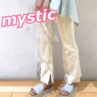 mystic - mystic ❤︎ カットリブフレアパンツ 新品 オフホワイト【¥5390】