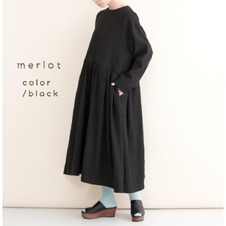 merlot - merlot*ダブルタックボリュームワンピース 黒