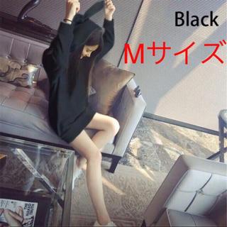 【限定SALE】うさみみパーカー(黒M) オルチャン(パーカー)