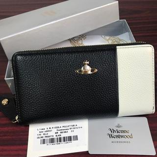 Vivienne Westwood -  🌸桜セール実施中!ヴィヴィアン ブラック×ホワイト ラウンドファスナー長財布