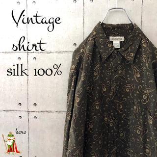 【レア】ビンテージシャツ シルク 100%  長袖 ペイズリー 総柄 ゆったり(シャツ)