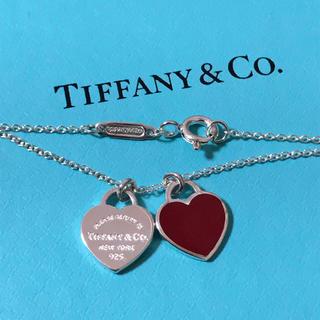 Tiffany & Co. - ティファニー ミニダブルハート タグ ペンダントネックレス赤 レッド 巾着・箱付
