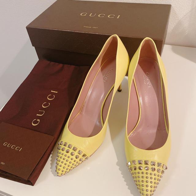Gucci - GUCCI  スタッズパンプス イエローの通販