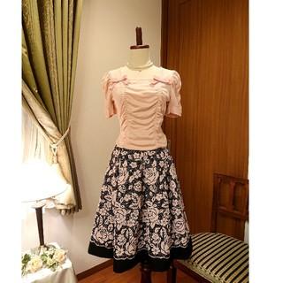 M'S GRACY - エムズグレイシー 桜色の薔薇柄スカートとカットソーのセット