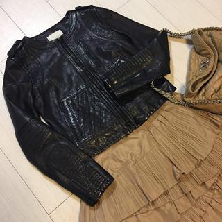 アンタイトル(UNTITLED)の極美品✨UNTITLED 羊革ジャケット リアルレザー 本革 2(ノーカラージャケット)