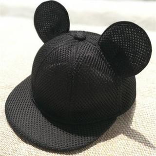 【黒のメッシュ】子供用52cmキャップ♡マウス★耳付き帽子