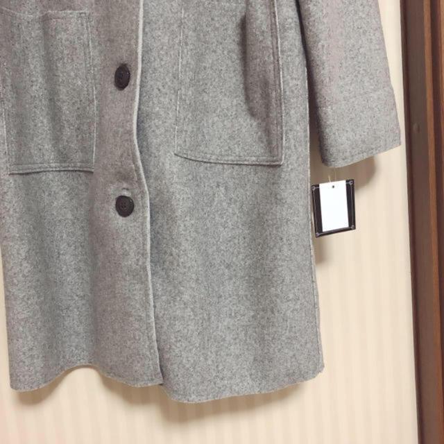 IENA(イエナ)の新品ダブルフェイス ノーカラーコート ライトグレー レディースのジャケット/アウター(ロングコート)の商品写真