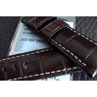 パネライ(PANERAI)のPANERAI パネライ 24mm Dバックル用 アリゲーター ベルト 濃褐色(レザーベルト)
