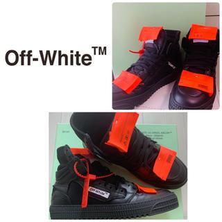 オフホワイト(OFF-WHITE)の希少 オフホワイト  美品 オレンジタグ ブラックレザー ハイカットスニーカー(スニーカー)