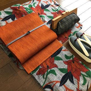 正絹 袷 グレー紬