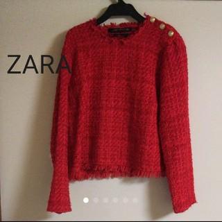 ZARA - ZARA ツイードトップス 赤 Mサイズ 美品