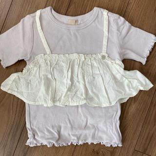 petit main - petit main ドッキングビスチェ付き Tシャツ ラベンダー