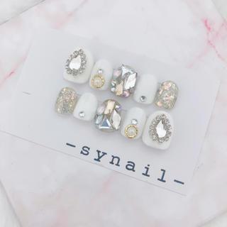韓国風 グリッター 宝石 ネイル チップ