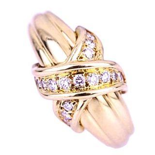ティファニー(Tiffany & Co.)のティファニー シグネチャー クロス ダイヤモンド ゴールド リング K18YG(リング(指輪))