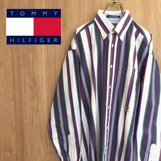 TOMMY HILFIGER - 【激レア】トミーヒルフィガー☆オールド刺繍ロゴ マルチストライプシャツ 90s