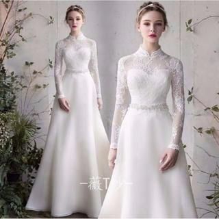 ウエディングドレス ホワイト 長袖 エレガント 結婚式/披露宴