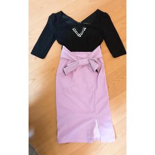 dazzy store - デイジー バイカラー ミディアムタイトドレス