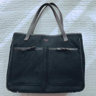 ANYA HINDMARCH - アニヤハインドマーチ 黒×茶色 布素材リボントートバッグ