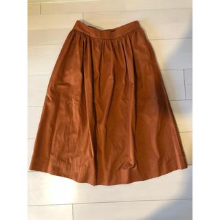 ザラ(ZARA)の新品タグつきZARAザラ テラコッタオレンジスカート ミモレ丈(ひざ丈スカート)