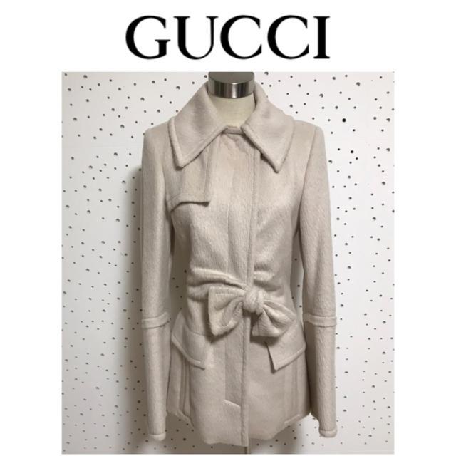 時計 iwc 中古 スーパー コピー 、 Gucci - 本物 グッチ リボン付 アルパカ混 ウール ジャケット コート 38 ベージュ系の通販