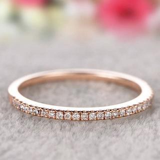 指輪 レディース リング ハーフエタニティ ピンクゴールド ジルコニア 可愛い(リング(指輪))