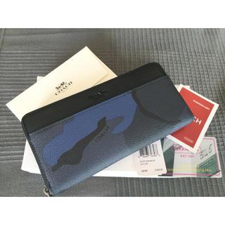 COACH - COACH 新品 迷彩柄 ブラック ブルー 長財布 F75099 メンズ レザー