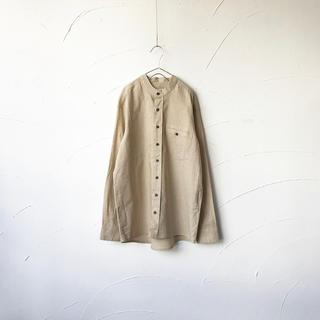 【古着】リネン バンドカラーシャツ(シャツ)