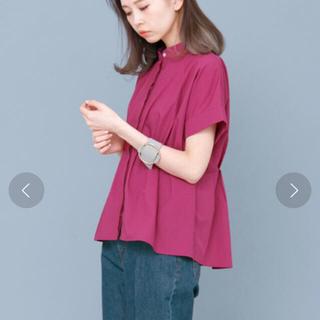 KBF - KBF web限定 ノーカラーペラムシャツ ピンク