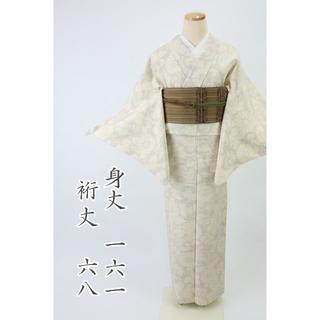 紬単衣 *小紋 花唐草模様 絣 白地 普段着に♪ 3KS32